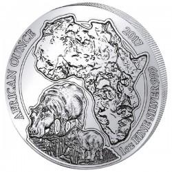1 Oz Silber Ruanda Flusspferd 2017(Diff.besteuert nach §25a UStG)