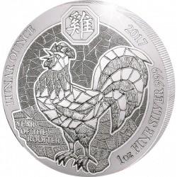 1 Oz Silber Ruanda Hahn 2017(Diff.besteuert nach §25a UStG)