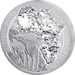 1 Oz Silber Ruanda Okapi...